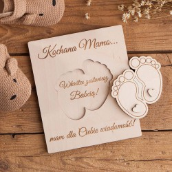 ZOSTANIECIE Dziadkami gratulacje drewniane Dla Babci ze stópkami