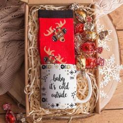 KOSZ prezentowy świąteczny Z PODPISEM Kubek i skarpety