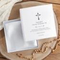 PUDEŁKO na szatkę do Chrztu Z IMIENIEM Srebrny Krzyżyk