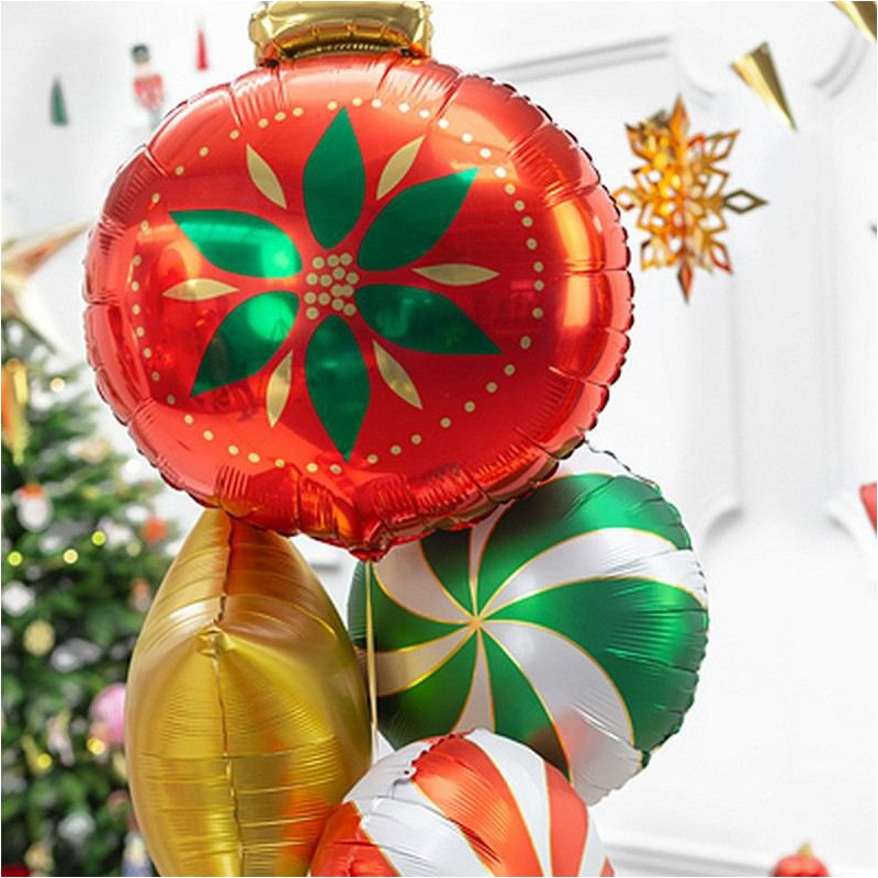 Balon świąteczny w kształcie czerwonej bombki