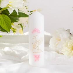 ŚWIECA pieńkowa Różowy Aniołek 16cmx5cm