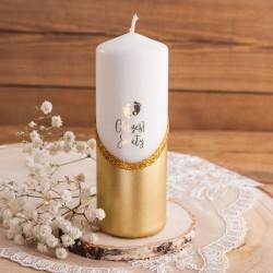 ŚWIECA pieńkowa brokacona na Chrzest Złote Stópki 5x14cm LUX
