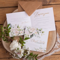 ZAPROSZENIA na Chrzest botaniczne Białe Kwiaty 10szt (+kraftowe koperty)