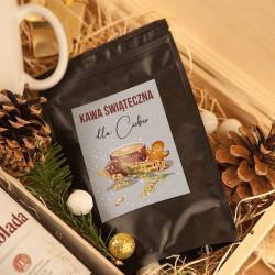 ZESTAW świąteczny w skrzyni Premium z kawą Piernik i Czekolada Z TWOIM NADRUKIEM