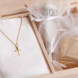 PAMIĄTKA I Komunii Łańcuszek z krzyżykiem POZŁACANE SREBRO +Imię w pudełku