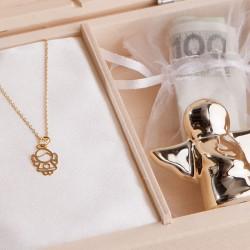 PAMIĄTKA I Komunii Łańcuszek z aniołkiem POZŁACANE SREBRO +Imię w pudełku