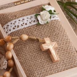 PAMIĄTKA I Komunii Z IMIENIEM z drewnianym różańcem i woreczkiem Boho