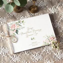 KSIĘGA Pamiątkowa na Komunię Pudrowe Kwiaty Z IMIENIEM (+jutowy sznurek)