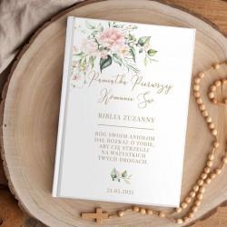 BIBLIA Pamiątka I Komunii Świętej Z IMIENIEM DUŻA Pudrowe Kwiaty