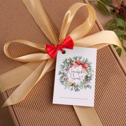 USŁUGA Pięknie zapakowany preznet ze złotą wstążką i bilecikiem na Boże Narodzenie