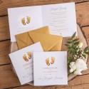 ZAPROSZENIA dla Chrzestnych Złote Stópki KOMPLET 2szt (+złote koperty)