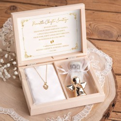 PAMIĄTKA Chrztu Świętego Łańcuszek z aniołkiem POZŁACANE SREBRO +Imię w pudełku