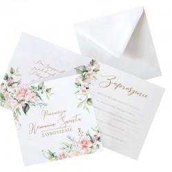 ZAPROSZENIA komunijne Kwiaty Rustykalne 10szt (+koperty)