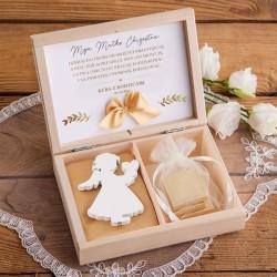 PODZIĘKOWANIE dla Chrzestnych/Dziadków w pudełku NA KOMUNIĘ Aniołek+czekoladki