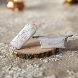 PODZIĘKOWANIE dla Chrzestnych na Komunię Bombonierka z krówkami Pudrowe Kwiaty Z IMIENIEM