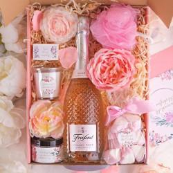 PREZENT dla Babci Z PODPISEM Wino kryształowe Róż MEGA LUX