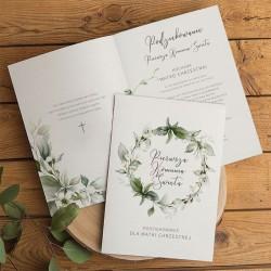 PODZIĘKOWANIE dla Chrzestnych/Dziadków na Komunię Wianuszek z kwiatami