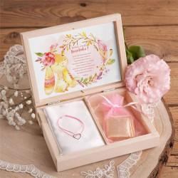 PREZENT dla dziecka w pudełku Króliczek Różowy BRANSOLETKA POZŁACANE SREBRO z sercem RÓŻOWA