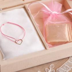 PREZENT dla dziecka w pudełku Zapach Piwonii BRANSOLETKA POZŁACANE SREBRO z sercem RÓŻOWA