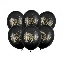 BALONY sylwestrowe Happy 2022 30cm 6szt CZARNE