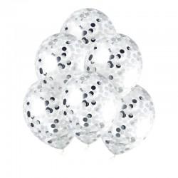 BALONY transparentne + metaliczne konfetti koła 30cm 10szt SREBRNE
