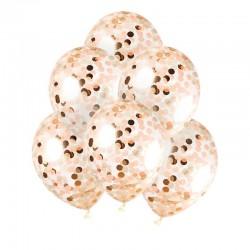 BALONY transparentne + metaliczne konfetti koła 30cm 10szt ROSEGOLD