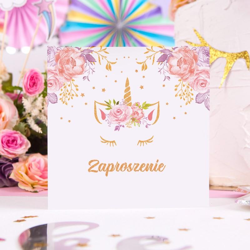 Zaproszenia Na Urodziny Dziecka Unicorn Jednorożec 10szt Koperty