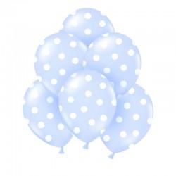 BALONY błękitne w białe kropki 6szt