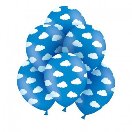 BALONY niebieskie w chmurki Samolocik 6szt