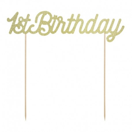 TOPPER na tort 1st Birthday ZŁOTY