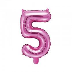 """Balon foliowy Cyfra """"5"""", 35cm, ciemny różowy"""