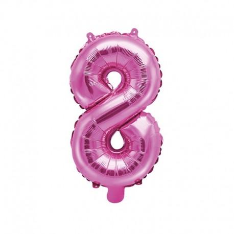 """Balon foliowy Cyfra """"8"""", 35cm, ciemny różowy"""