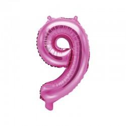 """Balon foliowy Cyfra """"9"""", 35cm, ciemny różowy"""