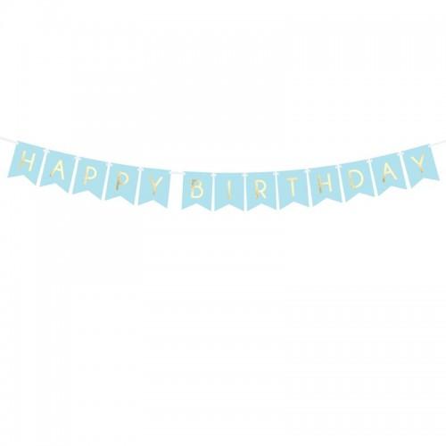 BANER Happy Birthday JASNONIEBIESKI 15 x 175 cm