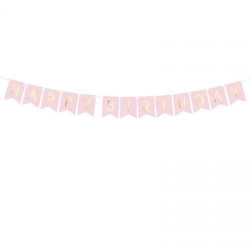 BANER Happy Birthday JASNORÓŻOWY 15 x 175 cm