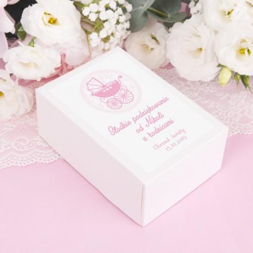 PUDEŁKA na ciasto z IMIENIEM Różowy Wózeczek 12szt