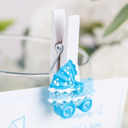 KLAMERKI dekoracyjne z błękitnym wózeczkiem 8szt