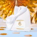 PUDEŁECZKA serca na Roczek i Urodziny dziecka Chevron Błękitny (+etykiety z imieniem+białe wstążki) 10szt