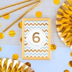 DEKORACJA stołu na Roczek i Urodziny Tabliczka Chevron Błękitny (+złota metalowa ramka)