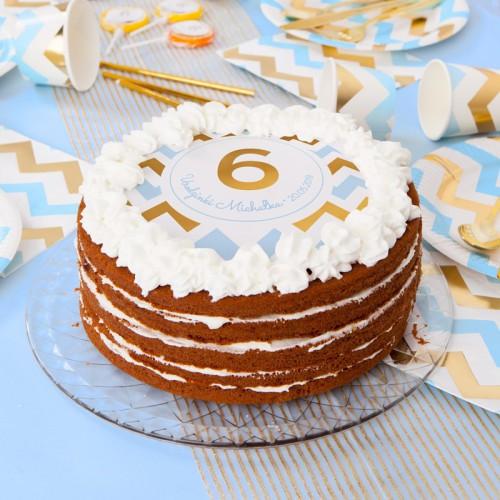 OPŁATEK na tort personalizowany na Roczek i Urodziny dziecka Chevron Błękitny Ø20cm