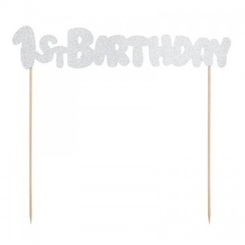 TOPPER na tort 1st Birthday brokatowy SREBRNY