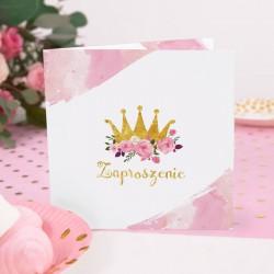 ZAPROSZENIA na Urodziny dziecka Mała Księżniczka 10szt (+kolorowe koperty)