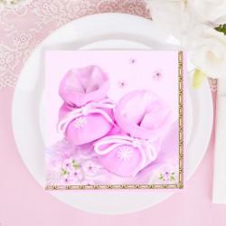 SERWETKI na Chrzest Różowe Buciki 20szt KONIEC SERII