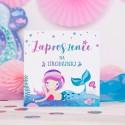 ZAPROSZENIA na Urodziny dziecka Syrenka 10szt (+kolorowe koperty)