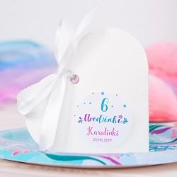 PUDEŁECZKA serca na Roczek i Urodziny dziecka Syrenka (+etykiety z imieniem+białe wstążki) 10szt
