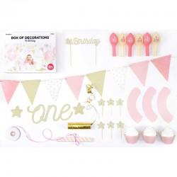 ZESTAW dekoracji na roczek dla dziewczynki 33 ELEMENTY