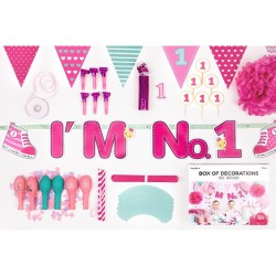 ZESTAW dekoracji na roczek dla dziewczynki 42 ELEMENTY