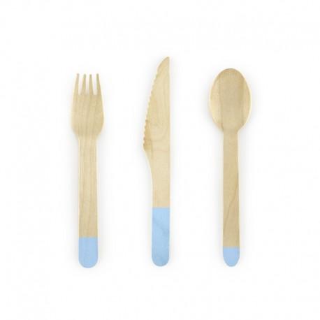 SZTUĆCE drewniane jasny niebieski 18szt