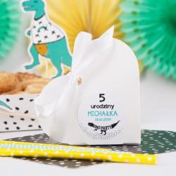PUDEŁKA na ciasto z IMIENIEM DinoParty 12szt