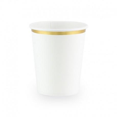 KUBECZKI białe ze złotym paskiem 6szt